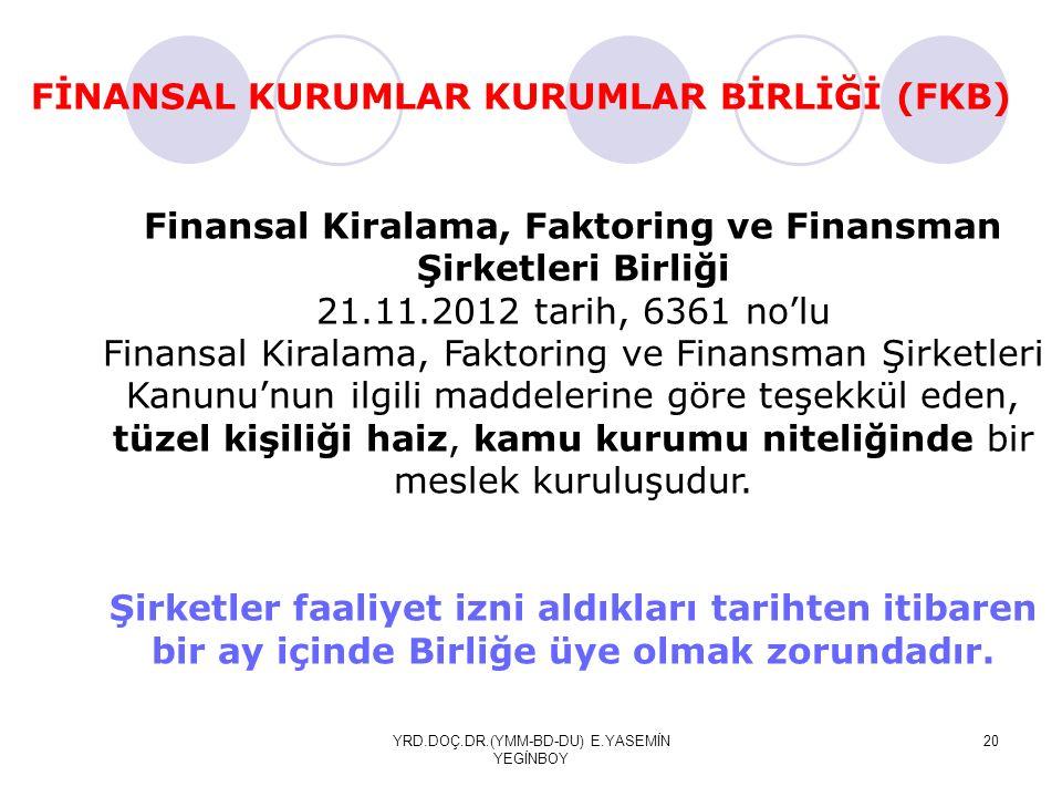 YRD.DOÇ.DR.(YMM-BD-DU) E.YASEMİN YEGİNBOY 20 FİNANSAL KURUMLAR KURUMLAR BİRLİĞİ (FKB) Finansal Kiralama, Faktoring ve Finansman Şirketleri Birliği 21.11.2012 tarih, 6361 no'lu Finansal Kiralama, Faktoring ve Finansman Şirketleri Kanunu'nun ilgili maddelerine göre teşekkül eden, tüzel kişiliği haiz, kamu kurumu niteliğinde bir meslek kuruluşudur.