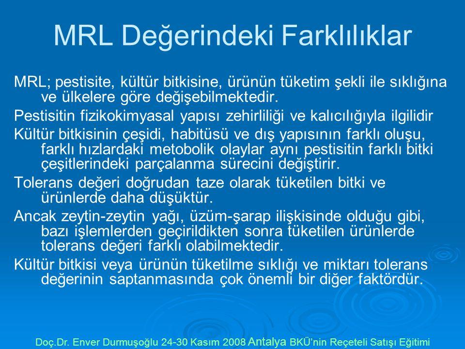 MRL Değerindeki Farklılıklar MRL; pestisite, kültür bitkisine, ürünün tüketim şekli ile sıklığına ve ülkelere göre değişebilmektedir.