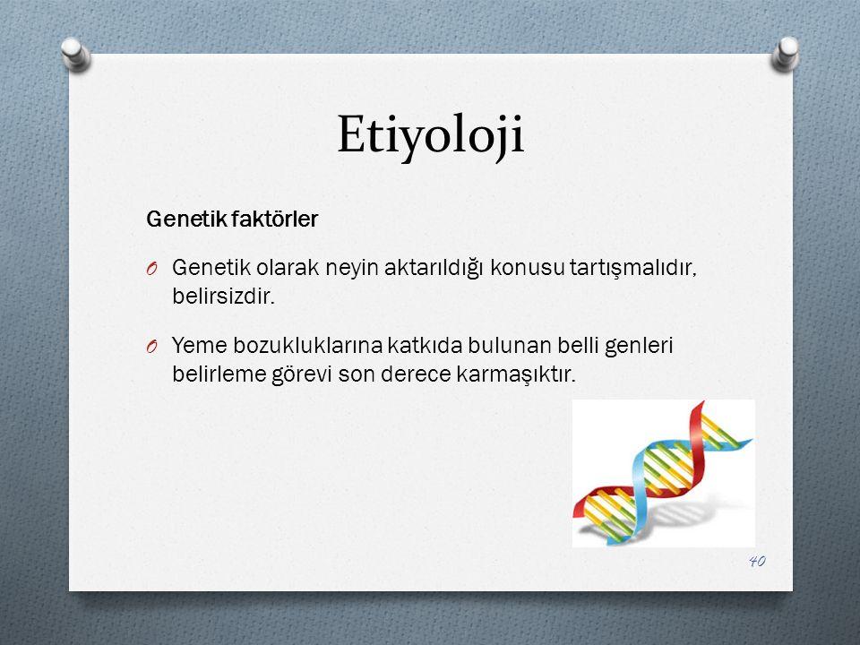 Etiyoloji Genetik faktörler O Genetik olarak neyin aktarıldığı konusu tartışmalıdır, belirsizdir.