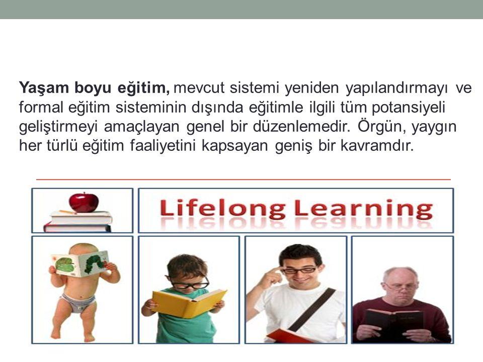 Yaşam boyu eğitim, mevcut sistemi yeniden yapılandırmayı ve formal eğitim sisteminin dışında eğitimle ilgili tüm potansiyeli geliştirmeyi amaçlayan ge