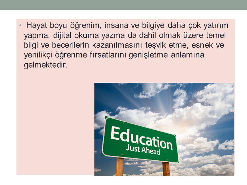 Hayat boyu öğrenim, insana ve bilgiye daha çok yatırım yapma, dijital okuma yazma da dahil olmak üzere temel bilgi ve becerilerin kazanılmasını teşvik