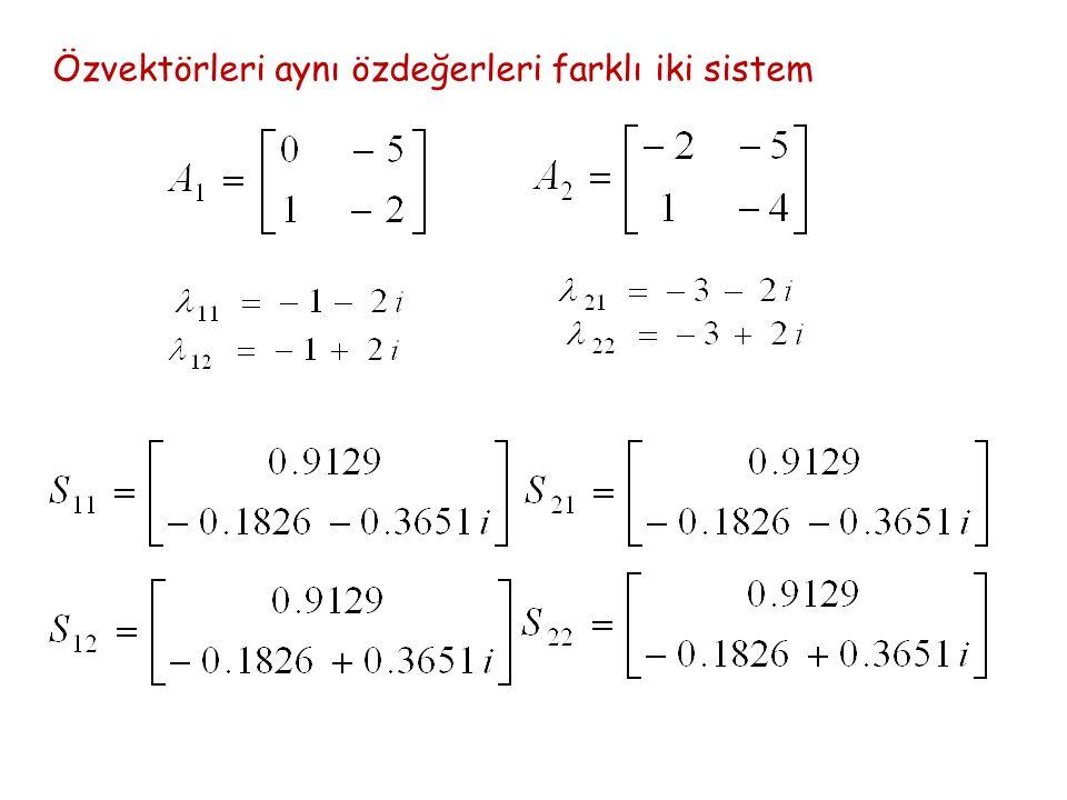 Özvektörleri aynı özdeğerleri farklı iki sistem