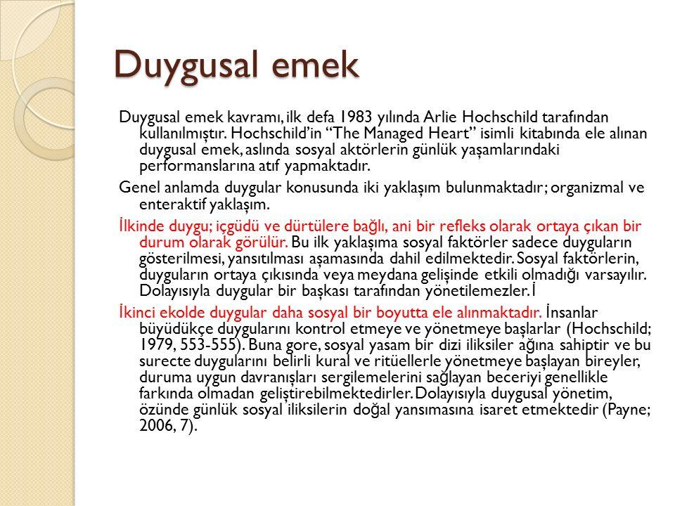 """Duygusal emek Duygusal emek kavramı, ilk defa 1983 yılında Arlie Hochschild tarafından kullanılmıştır. Hochschild'in """"The Managed Heart"""" isimli kitabı"""