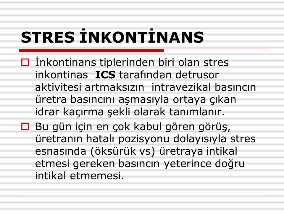 STRES İNKONTİNANS  İnkontinans tiplerinden biri olan stres inkontinas ICS tarafından detrusor aktivitesi artmaksızın intravezikal basıncın üretra bas