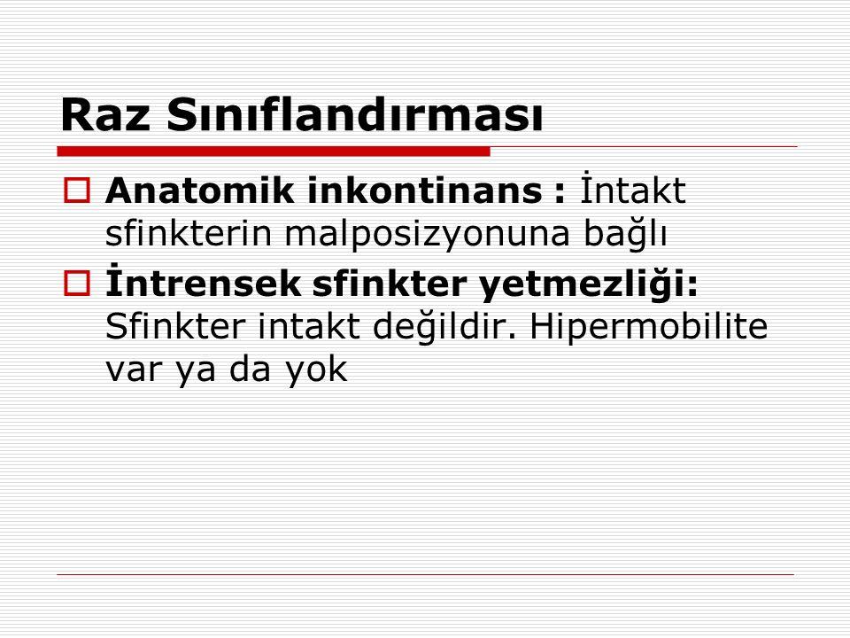 Raz Sınıflandırması  Anatomik inkontinans : İntakt sfinkterin malposizyonuna bağlı  İntrensek sfinkter yetmezliği: Sfinkter intakt değildir. Hipermo