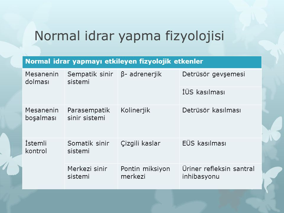Normal idrar yapma fizyolojisi Normal idrar yapmayı etkileyen fizyolojik etkenler Mesanenin dolması Sempatik sinir sistemi β- adrenerjikDetrüsör gevşe