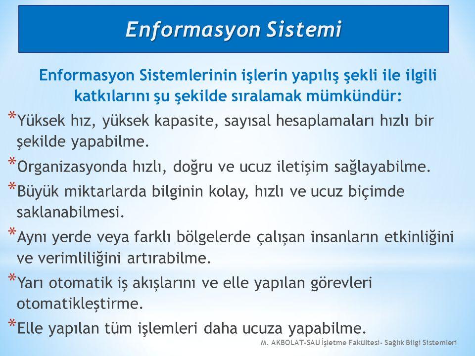 M. AKBOLAT-SAU İşletme Fakültesi- Sağlık Bilgi Sistemleri Enformasyon Sistemlerinin işlerin yapılış şekli ile ilgili katkılarını şu şekilde sıralamak