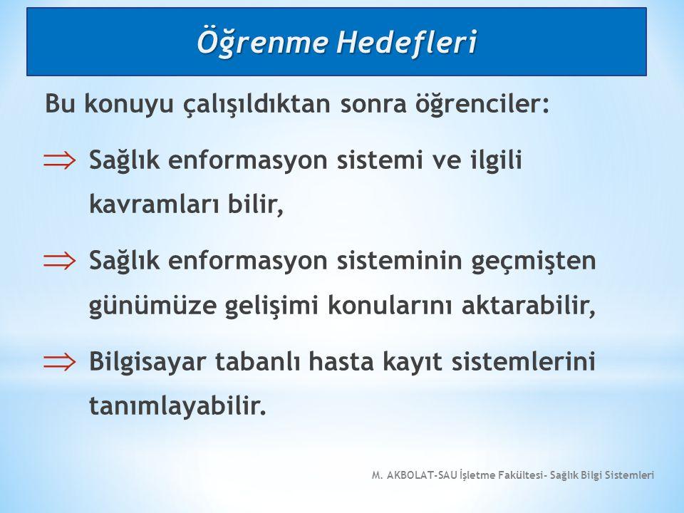 M.AKBOLAT-SAU İşletme Fakültesi- Sağlık Bilgi Sistemleri 12.