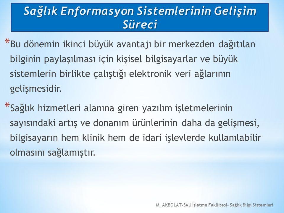 M. AKBOLAT-SAU İşletme Fakültesi- Sağlık Bilgi Sistemleri * Bu dönemin ikinci büyük avantajı bir merkezden dağıtılan bilginin paylaşılması için kişise