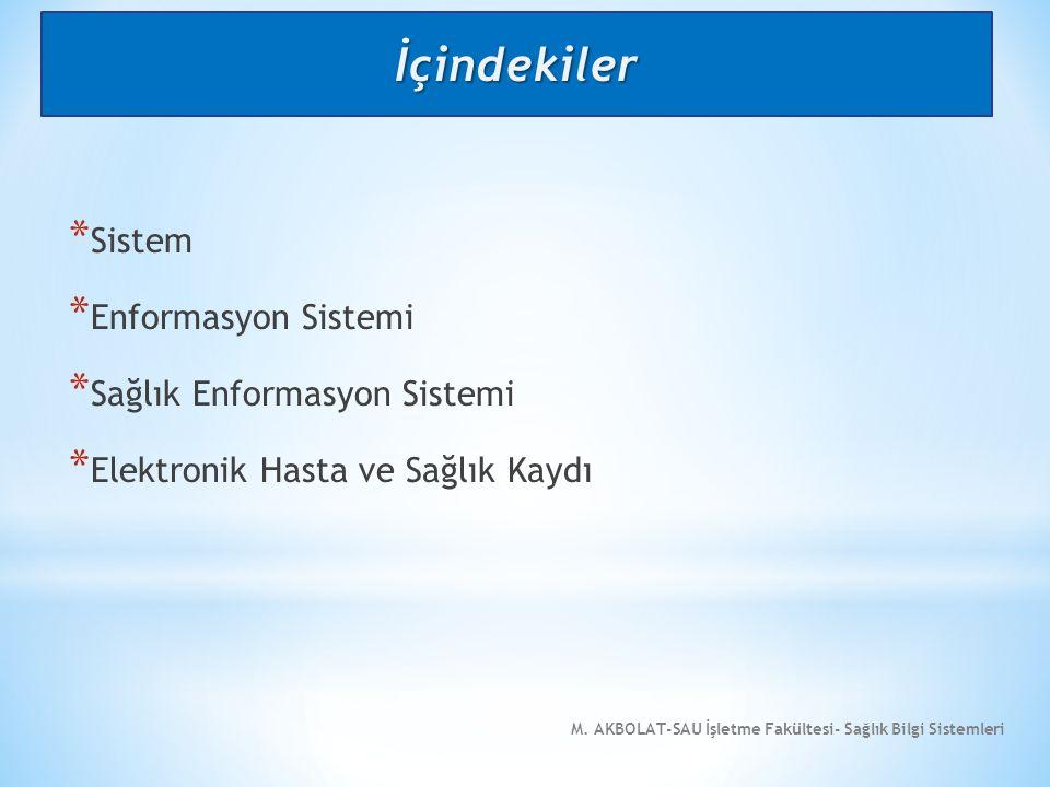 M.AKBOLAT-SAU İşletme Fakültesi- Sağlık Bilgi Sistemleri * 4.