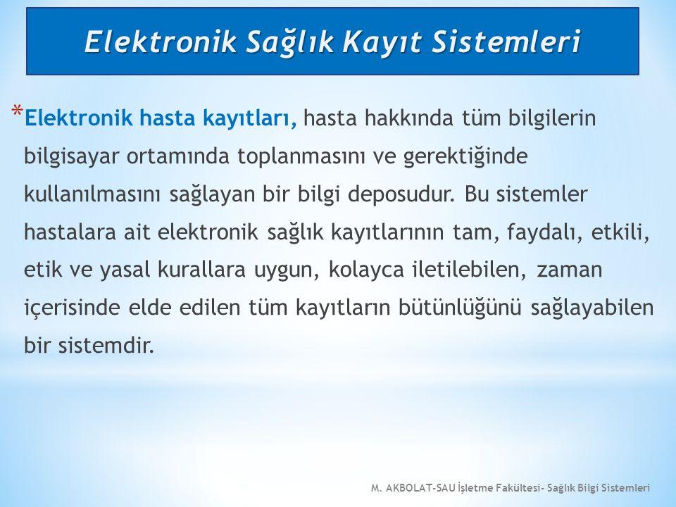M. AKBOLAT-SAU İşletme Fakültesi- Sağlık Bilgi Sistemleri * Elektronik hasta kayıtları, hasta hakkında tüm bilgilerin bilgisayar ortamında toplanmasın