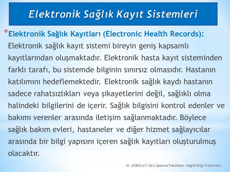 M. AKBOLAT-SAU İşletme Fakültesi- Sağlık Bilgi Sistemleri * Elektronik Sağlık Kayıtları (Electronic Health Records): Elektronik sağlık kayıt sistemi b
