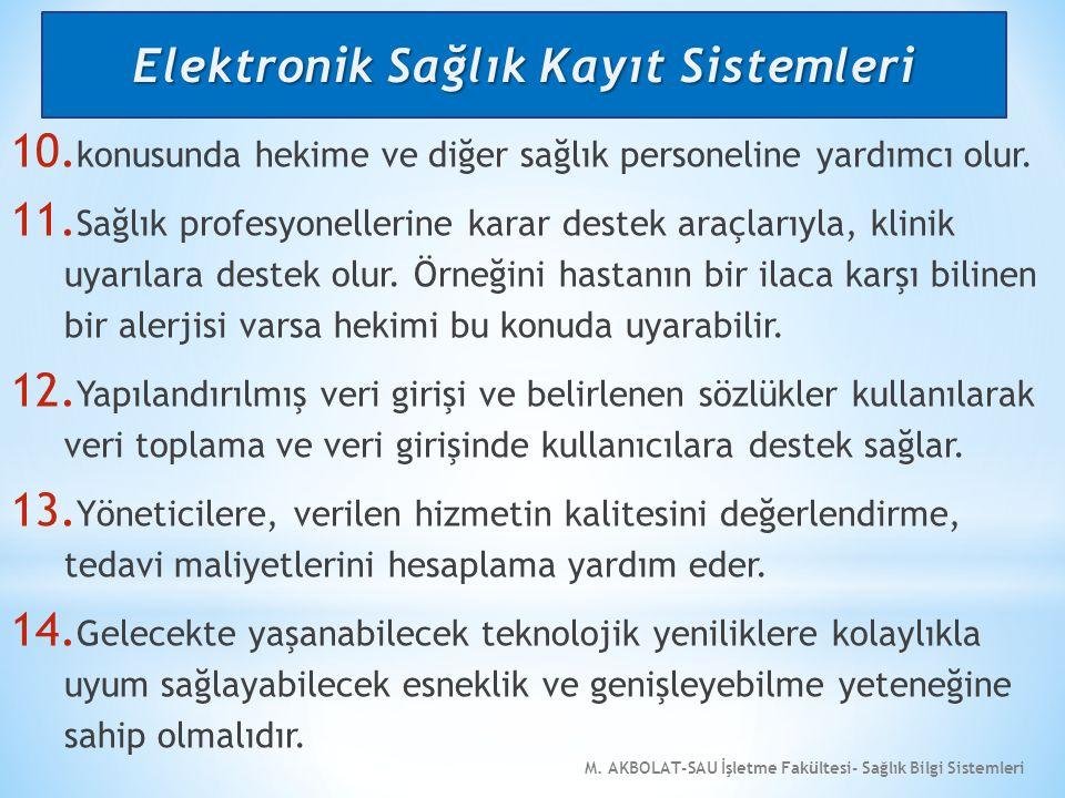 M.AKBOLAT-SAU İşletme Fakültesi- Sağlık Bilgi Sistemleri 10.