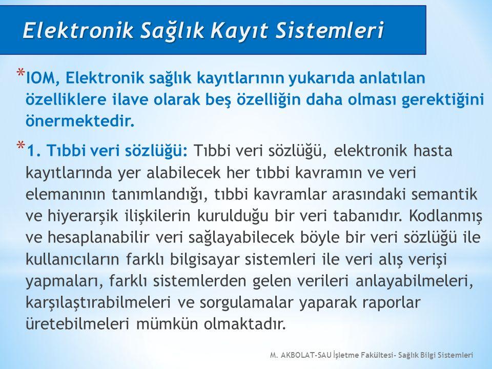 M. AKBOLAT-SAU İşletme Fakültesi- Sağlık Bilgi Sistemleri * IOM, Elektronik sağlık kayıtlarının yukarıda anlatılan özelliklere ilave olarak beş özelli