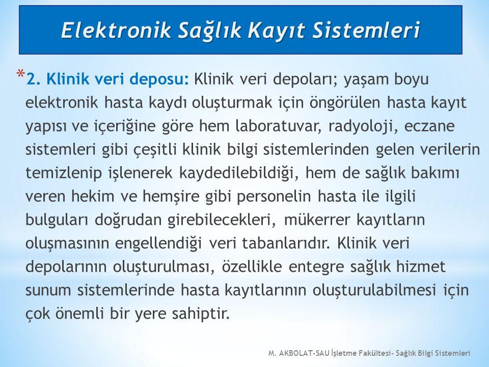 M. AKBOLAT-SAU İşletme Fakültesi- Sağlık Bilgi Sistemleri * 2. Klinik veri deposu: Klinik veri depoları; yaşam boyu elektronik hasta kaydı oluşturmak