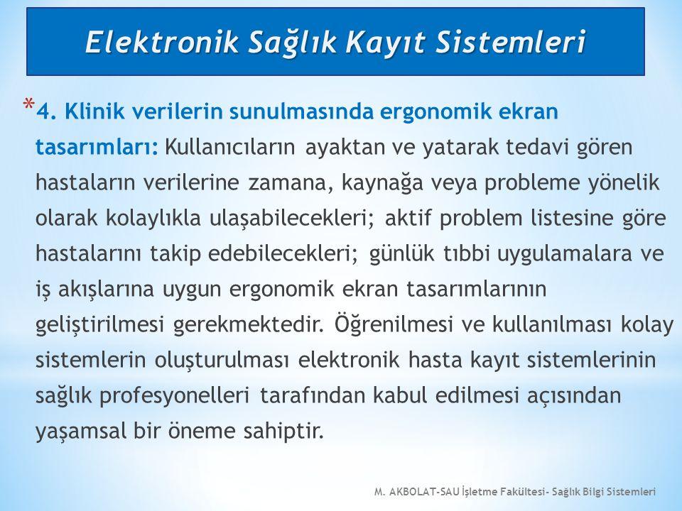 M. AKBOLAT-SAU İşletme Fakültesi- Sağlık Bilgi Sistemleri * 4. Klinik verilerin sunulmasında ergonomik ekran tasarımları: Kullanıcıların ayaktan ve ya
