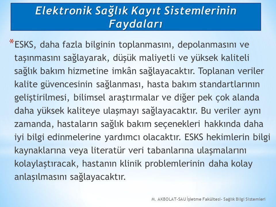 M. AKBOLAT-SAU İşletme Fakültesi- Sağlık Bilgi Sistemleri * ESKS, daha fazla bilginin toplanmasını, depolanmasını ve taşınmasını sağlayarak, düşük mal