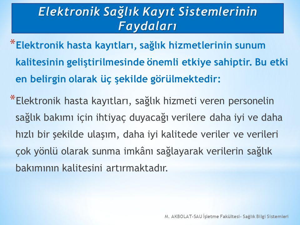 M. AKBOLAT-SAU İşletme Fakültesi- Sağlık Bilgi Sistemleri * Elektronik hasta kayıtları, sağlık hizmetlerinin sunum kalitesinin geliştirilmesinde öneml