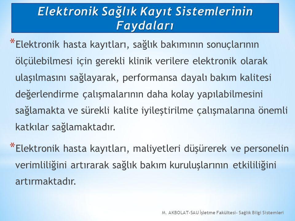 M. AKBOLAT-SAU İşletme Fakültesi- Sağlık Bilgi Sistemleri * Elektronik hasta kayıtları, sağlık bakımının sonuçlarının ölçülebilmesi için gerekli klini