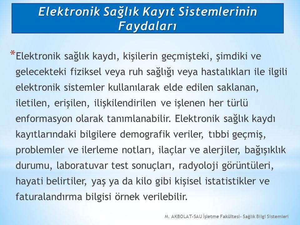 M. AKBOLAT-SAU İşletme Fakültesi- Sağlık Bilgi Sistemleri * Elektronik sağlık kaydı, kişilerin geçmişteki, şimdiki ve gelecekteki fiziksel veya ruh sa