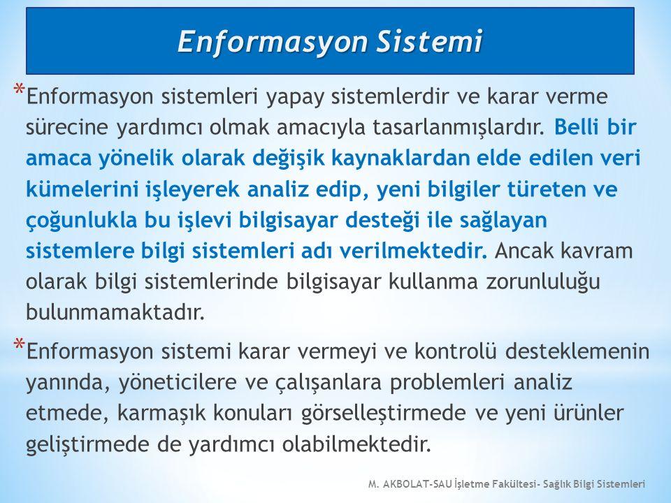 M. AKBOLAT-SAU İşletme Fakültesi- Sağlık Bilgi Sistemleri * Enformasyon sistemleri yapay sistemlerdir ve karar verme sürecine yardımcı olmak amacıyla