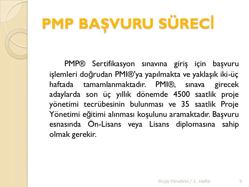 PMP SINAV SÜREC İ PMI®, başvuru sonunda adaylara, sınava girmeleri için bir kayıt numarası vermektedir.