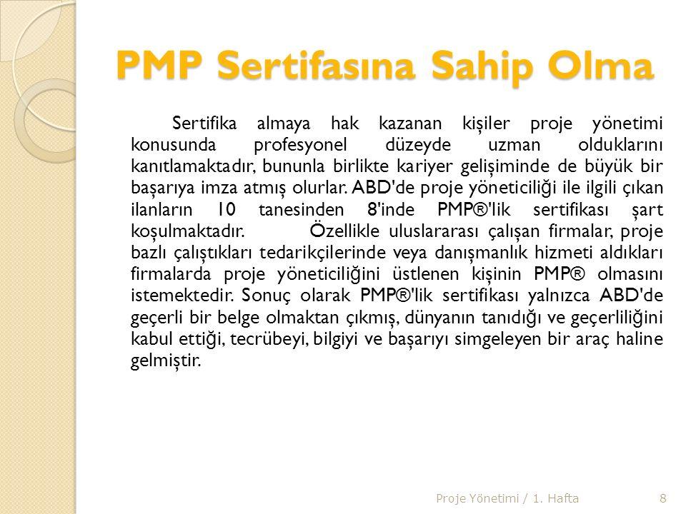 PMP SINAV SONRASI Sınav sonrası yaklaşık 1 ay içinde PMI® tarafından sınavı kazananlara PMP® sertifikası, yaka rozeti, profesyonel sorumluluk bildirgesi gönderilmektedir.