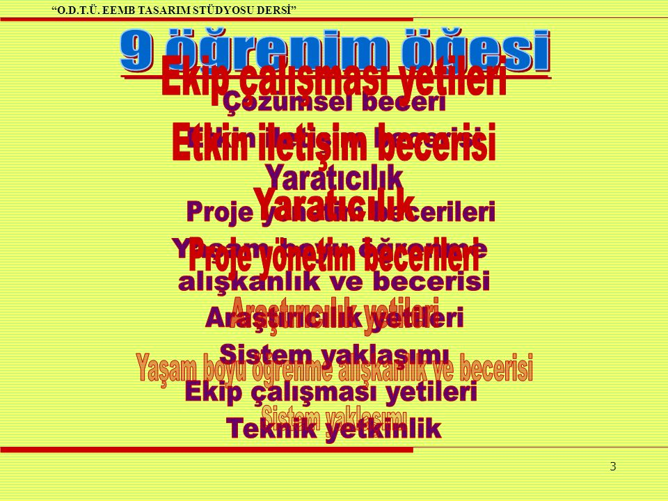 O.D.T.Ü. EEMB TASARIM STÜDYOSU DERSİ 3