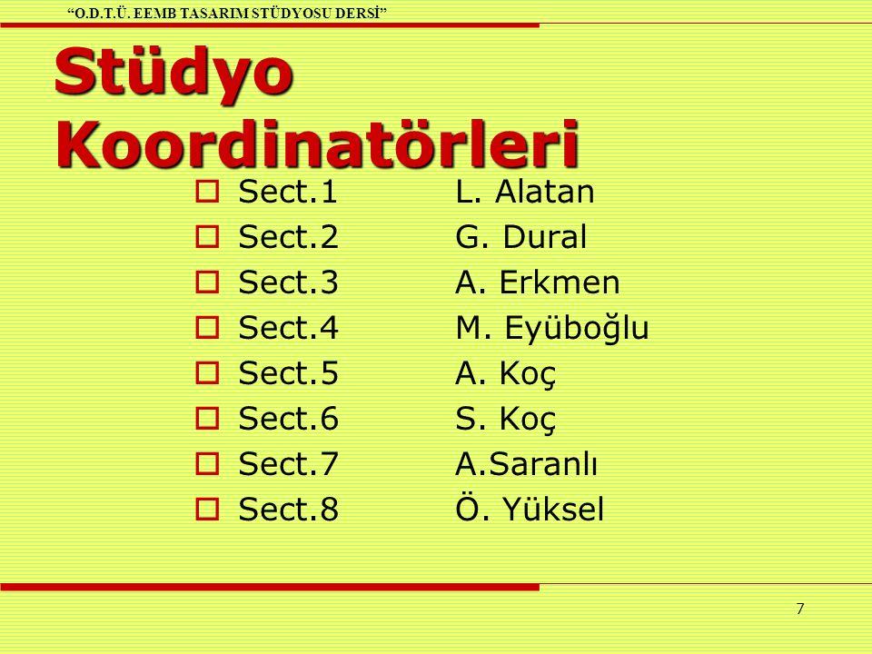 7 Stüdyo Koordinatörleri  Sect.1L. Alatan  Sect.2G.