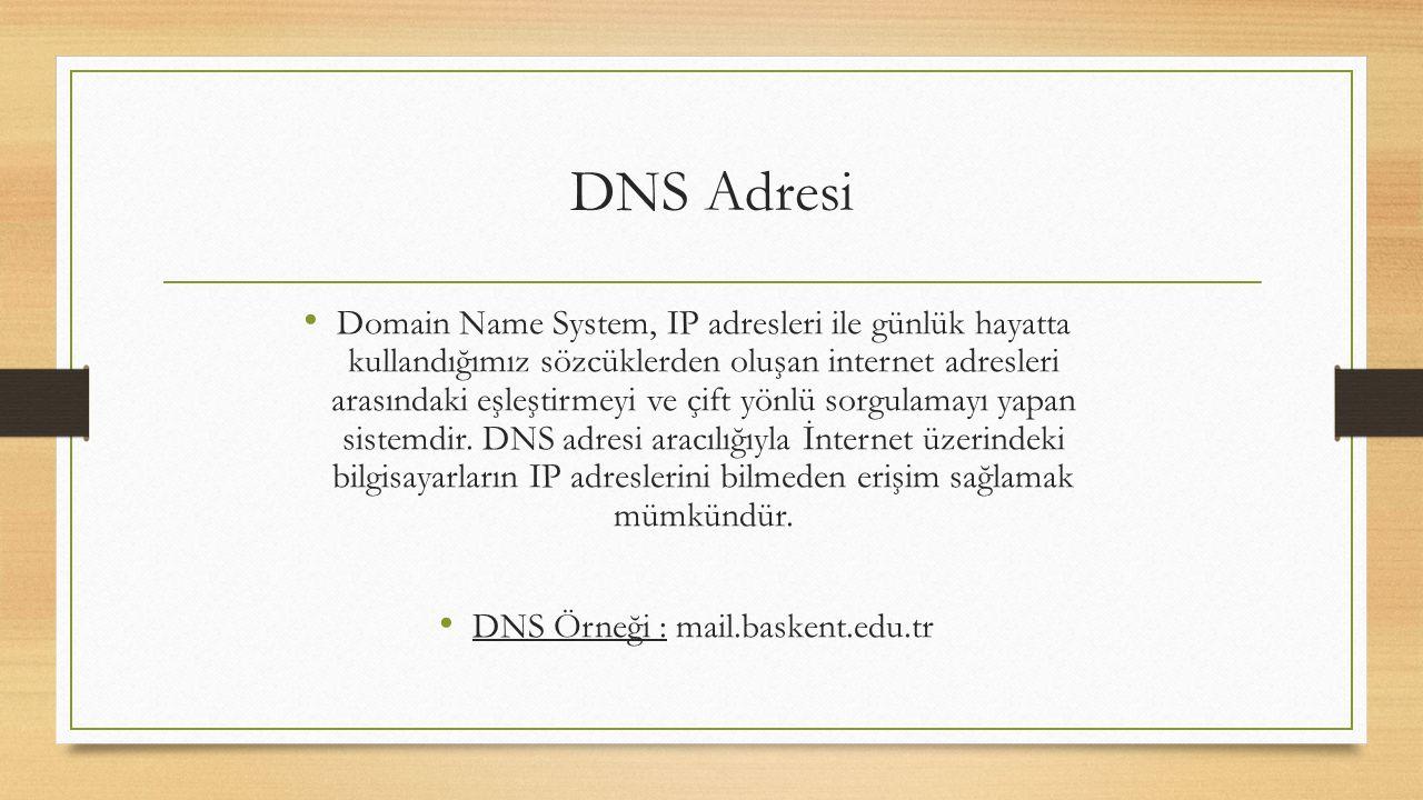 DNS Adresi Domain Name System, IP adresleri ile günlük hayatta kullandığımız sözcüklerden oluşan internet adresleri arasındaki eşleştirmeyi ve çift yönlü sorgulamayı yapan sistemdir.