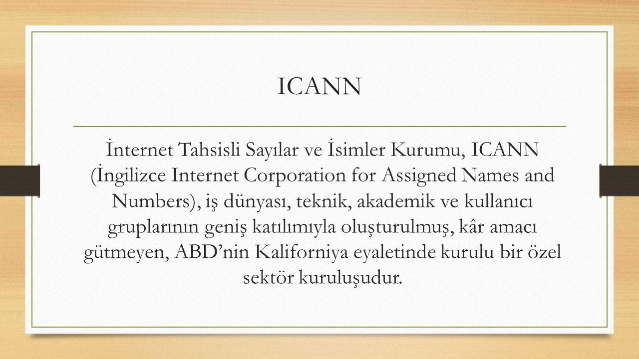 ICANN İnternet Tahsisli Sayılar ve İsimler Kurumu, ICANN (İngilizce Internet Corporation for Assigned Names and Numbers), iş dünyası, teknik, akademik ve kullanıcı gruplarının geniş katılımıyla oluşturulmuş, kâr amacı gütmeyen, ABD'nin Kaliforniya eyaletinde kurulu bir özel sektör kuruluşudur.