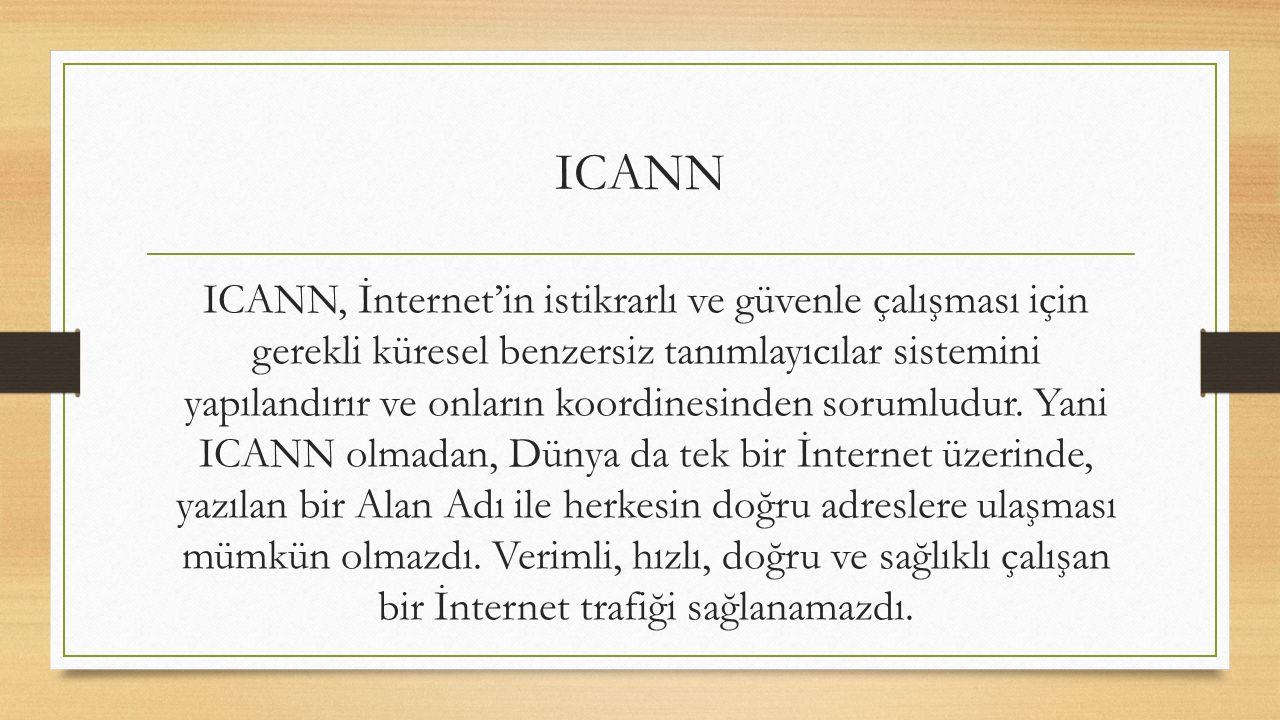 ICANN, İnternet'in istikrarlı ve güvenle çalışması için gerekli küresel benzersiz tanımlayıcılar sistemini yapılandırır ve onların koordinesinden sorumludur.