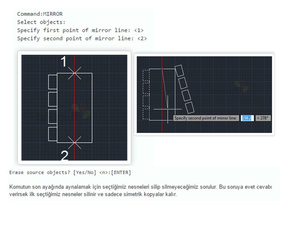 Div: DIVIDE: Eşit Bölme Komuta ulaşmanın birinci yolu Draw Menüsü > Point > Divide Diğer yolu ise klavye kısayolu : Div yazıp onaylıyoruz.