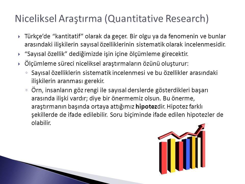  3 temel niceliksel araştırma yöntemi vardır:  1.
