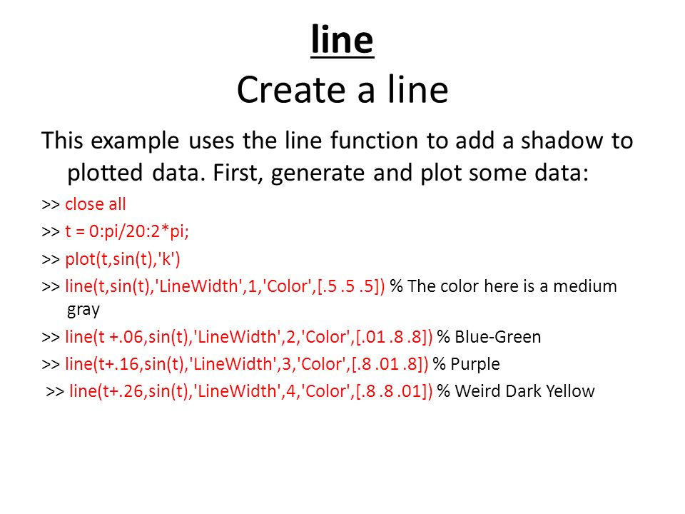 line Create a line This example uses the line function to add a shadow to plotted data.