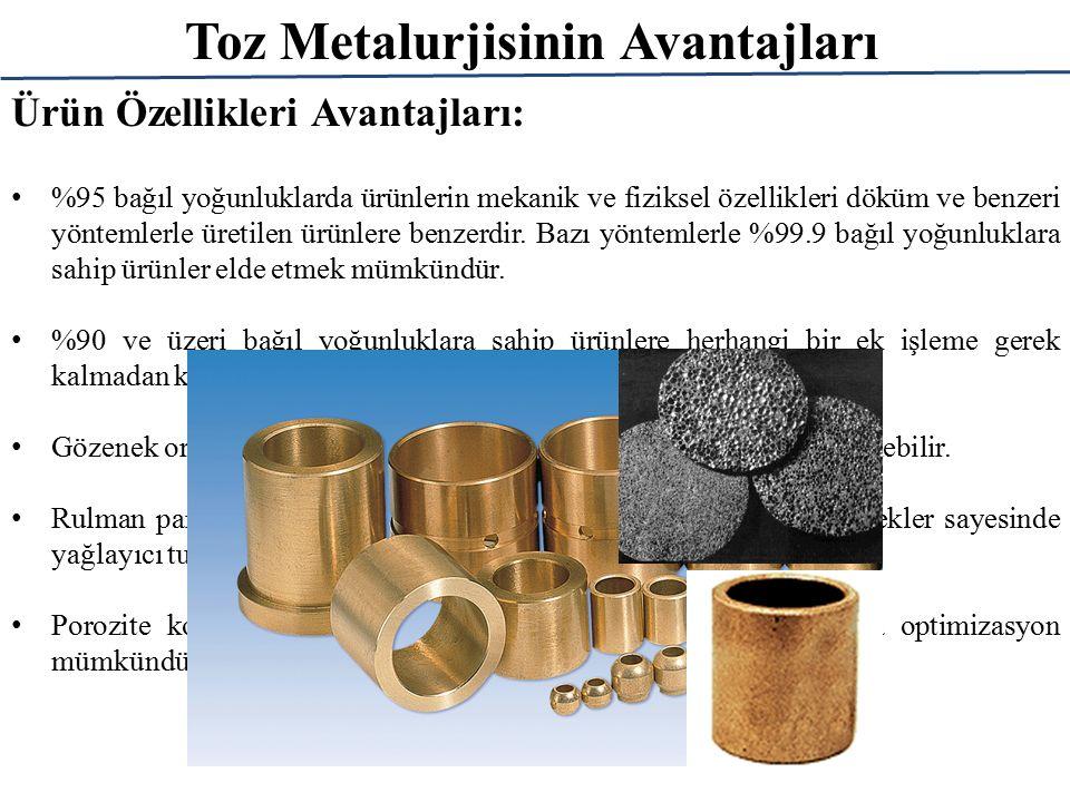 Toz Metalurjisinin Avantajları Ürün Özellikleri Avantajları: %95 bağıl yoğunluklarda ürünlerin mekanik ve fiziksel özellikleri döküm ve benzeri yöntem
