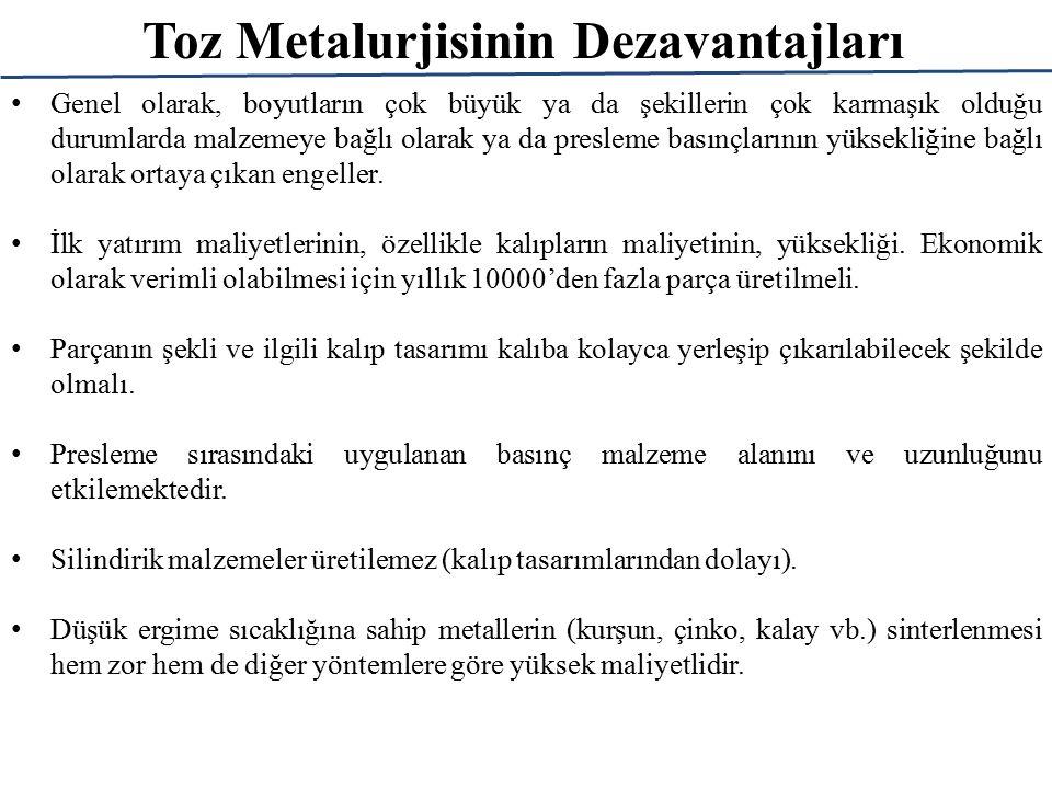 Toz Metalurjisinin Dezavantajları Genel olarak, boyutların çok büyük ya da şekillerin çok karmaşık olduğu durumlarda malzemeye bağlı olarak ya da pres