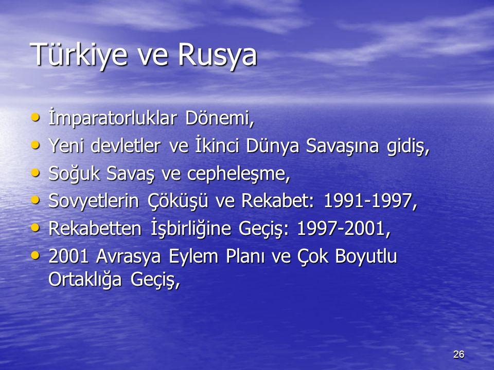26 Türkiye ve Rusya İmparatorluklar Dönemi, İmparatorluklar Dönemi, Yeni devletler ve İkinci Dünya Savaşına gidiş, Yeni devletler ve İkinci Dünya Savaşına gidiş, Soğuk Savaş ve cepheleşme, Soğuk Savaş ve cepheleşme, Sovyetlerin Çöküşü ve Rekabet: 1991-1997, Sovyetlerin Çöküşü ve Rekabet: 1991-1997, Rekabetten İşbirliğine Geçiş: 1997-2001, Rekabetten İşbirliğine Geçiş: 1997-2001, 2001 Avrasya Eylem Planı ve Çok Boyutlu Ortaklığa Geçiş, 2001 Avrasya Eylem Planı ve Çok Boyutlu Ortaklığa Geçiş,