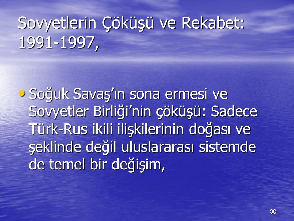 30 Sovyetlerin Çöküşü ve Rekabet: 1991-1997, Soğuk Savaş'ın sona ermesi ve Sovyetler Birliği'nin çöküşü: Sadece Türk-Rus ikili ilişkilerinin doğası ve şeklinde değil uluslararası sistemde de temel bir değişim, Soğuk Savaş'ın sona ermesi ve Sovyetler Birliği'nin çöküşü: Sadece Türk-Rus ikili ilişkilerinin doğası ve şeklinde değil uluslararası sistemde de temel bir değişim,