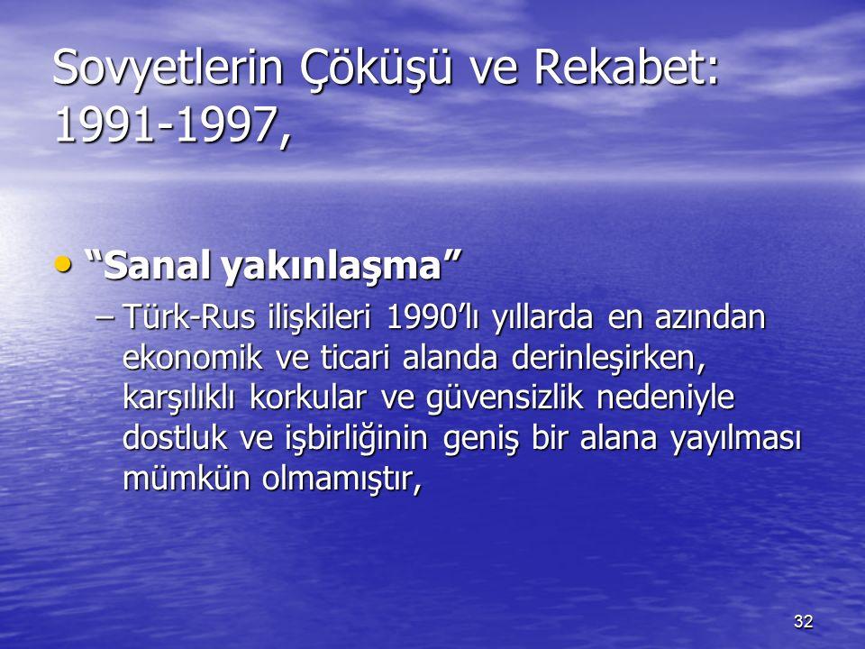 32 Sovyetlerin Çöküşü ve Rekabet: 1991-1997, Sanal yakınlaşma Sanal yakınlaşma –Türk-Rus ilişkileri 1990'lı yıllarda en azından ekonomik ve ticari alanda derinleşirken, karşılıklı korkular ve güvensizlik nedeniyle dostluk ve işbirliğinin geniş bir alana yayılması mümkün olmamıştır,