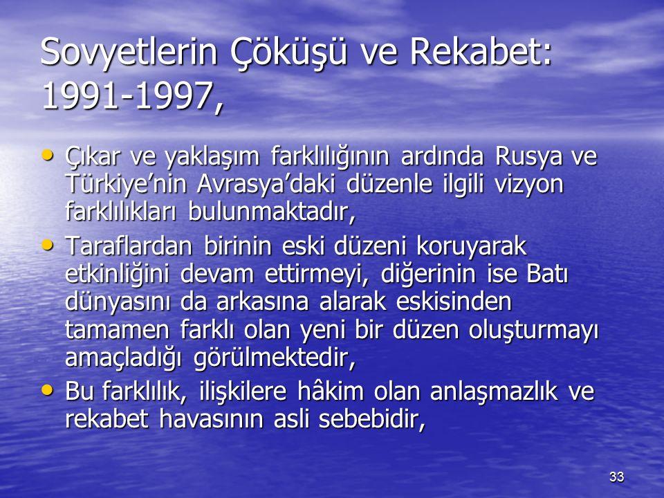 33 Sovyetlerin Çöküşü ve Rekabet: 1991-1997, Çıkar ve yaklaşım farklılığının ardında Rusya ve Türkiye'nin Avrasya'daki düzenle ilgili vizyon farklılıkları bulunmaktadır, Çıkar ve yaklaşım farklılığının ardında Rusya ve Türkiye'nin Avrasya'daki düzenle ilgili vizyon farklılıkları bulunmaktadır, Taraflardan birinin eski düzeni koruyarak etkinliğini devam ettirmeyi, diğerinin ise Batı dünyasını da arkasına alarak eskisinden tamamen farklı olan yeni bir düzen oluşturmayı amaçladığı görülmektedir, Taraflardan birinin eski düzeni koruyarak etkinliğini devam ettirmeyi, diğerinin ise Batı dünyasını da arkasına alarak eskisinden tamamen farklı olan yeni bir düzen oluşturmayı amaçladığı görülmektedir, Bu farklılık, ilişkilere hâkim olan anlaşmazlık ve rekabet havasının asli sebebidir, Bu farklılık, ilişkilere hâkim olan anlaşmazlık ve rekabet havasının asli sebebidir,