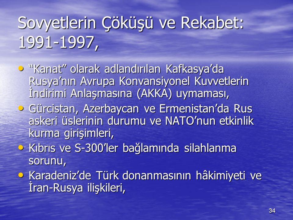 34 Sovyetlerin Çöküşü ve Rekabet: 1991-1997, Kanat olarak adlandırılan Kafkasya'da Rusya'nın Avrupa Konvansiyonel Kuvvetlerin İndirimi Anlaşmasına (AKKA) uymaması, Kanat olarak adlandırılan Kafkasya'da Rusya'nın Avrupa Konvansiyonel Kuvvetlerin İndirimi Anlaşmasına (AKKA) uymaması, Gürcistan, Azerbaycan ve Ermenistan'da Rus askeri üslerinin durumu ve NATO'nun etkinlik kurma girişimleri, Gürcistan, Azerbaycan ve Ermenistan'da Rus askeri üslerinin durumu ve NATO'nun etkinlik kurma girişimleri, Kıbrıs ve S-300'ler bağlamında silahlanma sorunu, Kıbrıs ve S-300'ler bağlamında silahlanma sorunu, Karadeniz'de Türk donanmasının hâkimiyeti ve İran-Rusya ilişkileri, Karadeniz'de Türk donanmasının hâkimiyeti ve İran-Rusya ilişkileri,