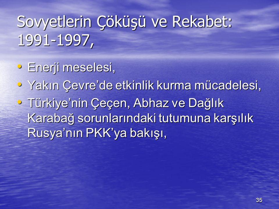 35 Sovyetlerin Çöküşü ve Rekabet: 1991-1997, Enerji meselesi, Enerji meselesi, Yakın Çevre'de etkinlik kurma mücadelesi, Yakın Çevre'de etkinlik kurma mücadelesi, Türkiye'nin Çeçen, Abhaz ve Dağlık Karabağ sorunlarındaki tutumuna karşılık Rusya'nın PKK'ya bakışı, Türkiye'nin Çeçen, Abhaz ve Dağlık Karabağ sorunlarındaki tutumuna karşılık Rusya'nın PKK'ya bakışı,