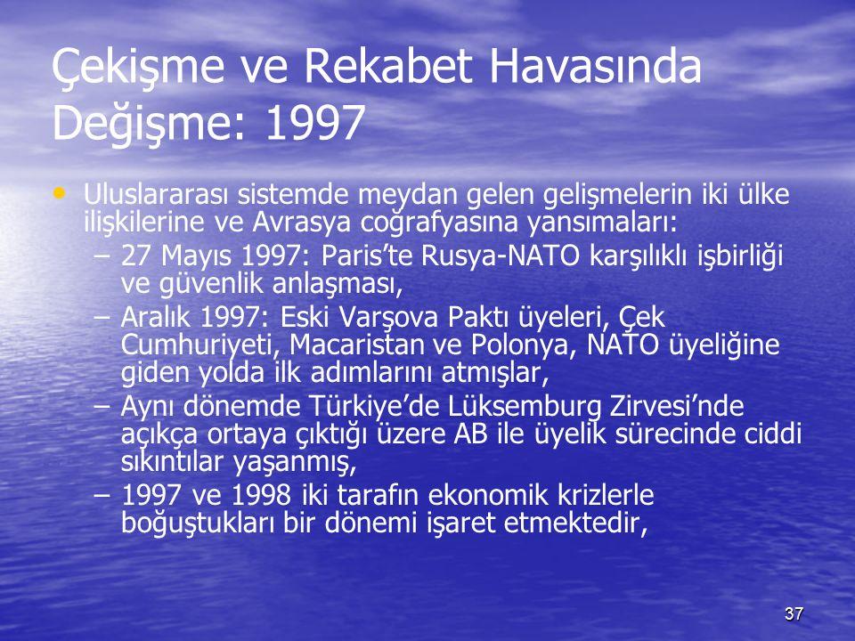 37 Çekişme ve Rekabet Havasında Değişme: 1997 Uluslararası sistemde meydan gelen gelişmelerin iki ülke ilişkilerine ve Avrasya coğrafyasına yansımaları: – –27 Mayıs 1997: Paris'te Rusya-NATO karşılıklı işbirliği ve güvenlik anlaşması, – –Aralık 1997: Eski Varşova Paktı üyeleri, Çek Cumhuriyeti, Macaristan ve Polonya, NATO üyeliğine giden yolda ilk adımlarını atmışlar, – –Aynı dönemde Türkiye'de Lüksemburg Zirvesi'nde açıkça ortaya çıktığı üzere AB ile üyelik sürecinde ciddi sıkıntılar yaşanmış, – –1997 ve 1998 iki tarafın ekonomik krizlerle boğuştukları bir dönemi işaret etmektedir,