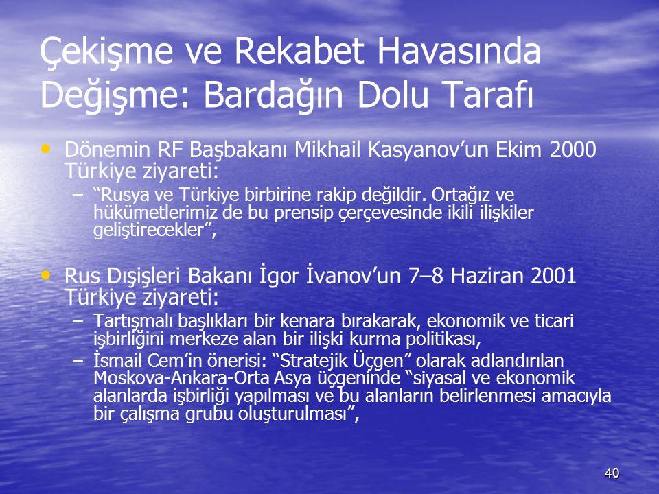 40 Çekişme ve Rekabet Havasında Değişme: Bardağın Dolu Tarafı Dönemin RF Başbakanı Mikhail Kasyanov'un Ekim 2000 Türkiye ziyareti: – – Rusya ve Türkiye birbirine rakip değildir.