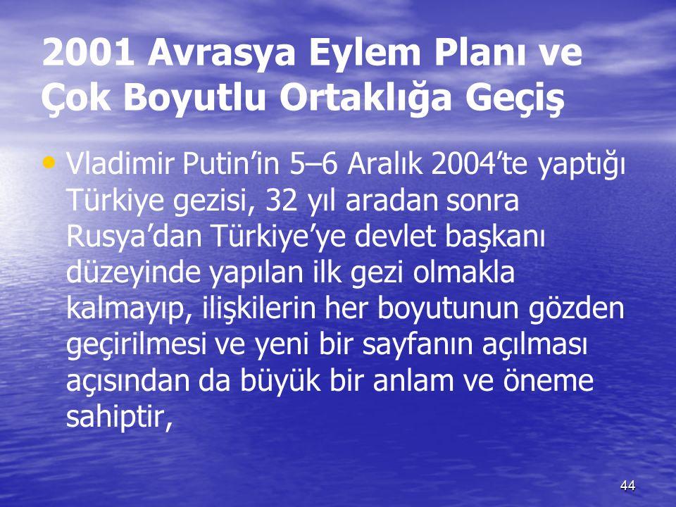44 2001 Avrasya Eylem Planı ve Çok Boyutlu Ortaklığa Geçiş Vladimir Putin'in 5–6 Aralık 2004'te yaptığı Türkiye gezisi, 32 yıl aradan sonra Rusya'dan Türkiye'ye devlet başkanı düzeyinde yapılan ilk gezi olmakla kalmayıp, ilişkilerin her boyutunun gözden geçirilmesi ve yeni bir sayfanın açılması açısından da büyük bir anlam ve öneme sahiptir,