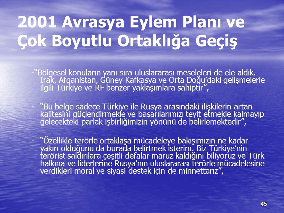 45 2001 Avrasya Eylem Planı ve Çok Boyutlu Ortaklığa Geçiş - Bölgesel konuların yanı sıra uluslararası meseleleri de ele aldık.