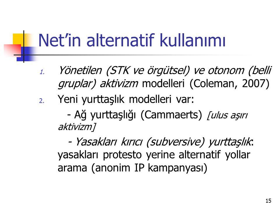 15 Net'in alternatif kullanımı 1. Yönetilen (STK ve örgütsel) ve otonom (belli gruplar) aktivizm modelleri (Coleman, 2007) 2. Yeni yurttaşlık modeller