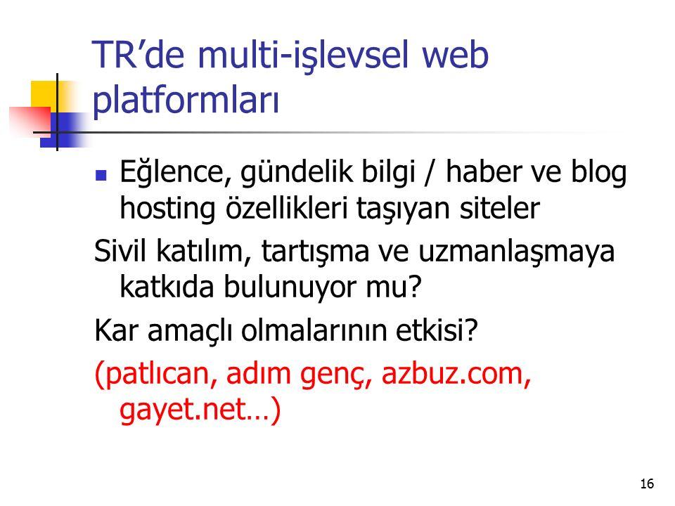 16 TR'de multi-işlevsel web platformları Eğlence, gündelik bilgi / haber ve blog hosting özellikleri taşıyan siteler Sivil katılım, tartışma ve uzmanlaşmaya katkıda bulunuyor mu.
