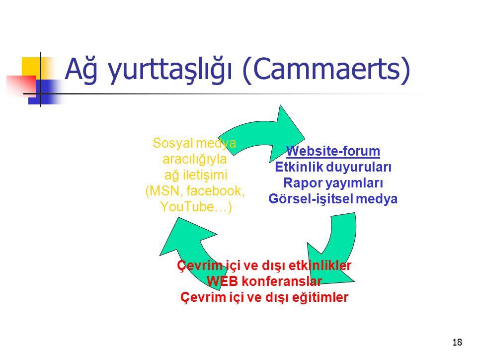 18 Ağ yurttaşlığı (Cammaerts) Website-forum Etkinlik duyuruları Rapor yayımları Görsel-işitsel medya Çevrim içi ve dışı etkinlikler WEB konferanslar Çevrim içi ve dışı eğitimler Sosyal medya aracılığıyla ağ iletişimi (MSN, facebook, YouTube…)
